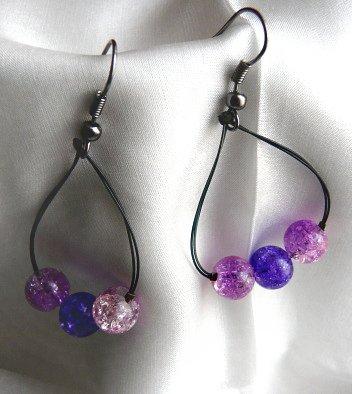 Fialový náhrdelník a náušnice na lanku
